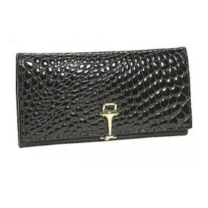 ❌Budd Black Crocodile Leather Checkbook Wallet❌
